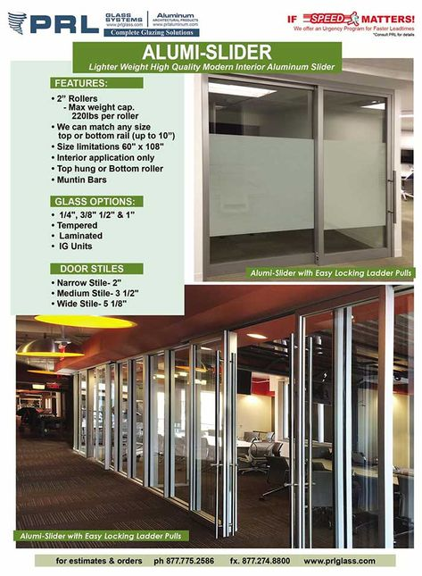Designed For Interior Commercial And Residential Applications Prl Alumi Sliders Are Durable Aluminum And Glass Sliding Sliding Glass Door Office Design Design