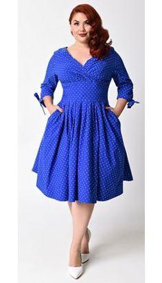 Unique Vintage Plus Size 1950s Royal Blue & White Pin Dot ...