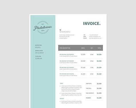 Invoice template Receipt template Invoice instant download - musician invoice template