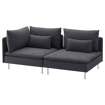Soderhamn 4er Sofa Mit Recamiere Offenes Ende Samsta Dunkelgrau Ikea Osterreich In 2020 Sofa Comfortable Sofa Ikea Sofa