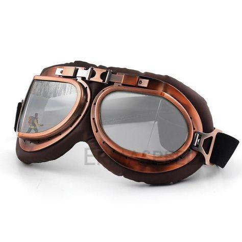 Brown Lens Glasses Vintage Aviator Pilot Helmet Goggles For Motorcycle