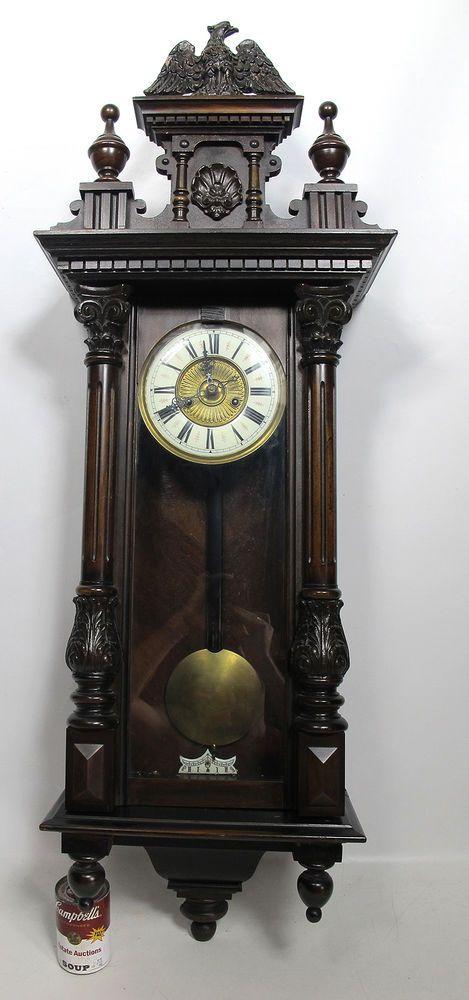 Antique 19th Century Gustav Becker German Vienna Regulator Walnut Wall Clock Yqz Becker
