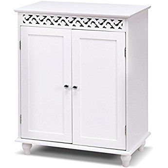 Tangkula Floor Cabinet White Wooden Free Standing Bathroom 2 Shelves Storage Cabinet Bathroom Floor Cabinets Cupboard Storage Bathroom Storage Cabinet