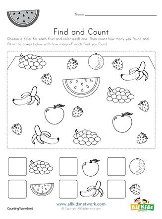 Fruit Number Count Worksheet In 2020 Counting Worksheets Mazes For Kids Printable Worksheets