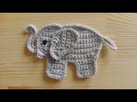 How to crochet an elephant application applique ✭Teresa Restegui http://www.pinterest.com/teretegui/ ✭