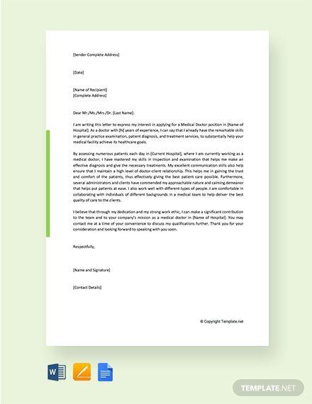 Free Job Application Letter For Medical Doctor Application