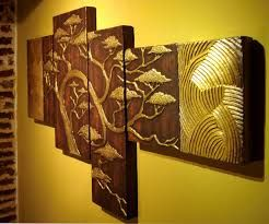 Resultado De Imagen Para Como Hacer Cuadros Tripticos Con Relieve Clay Wall Art Simple Acrylic Paintings Painted Paneling