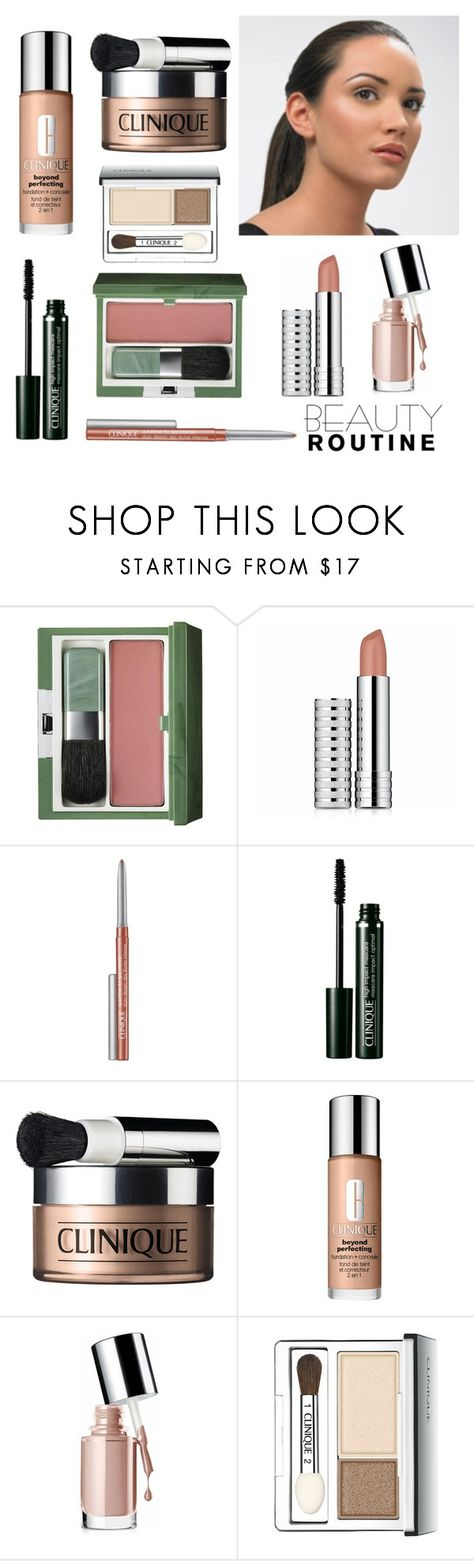"""Nude Make up with Clinique"" by dezaval ❤ liked on Polyvore featuring beauty, Clinique and beautyroutine"