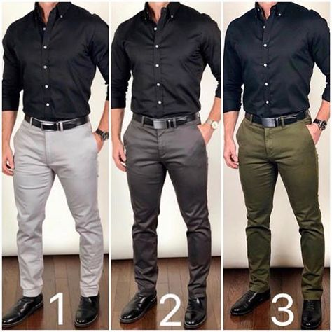 Here are three options for wearing a solid black dress shirt.which one would you choose❓ Light gray 📁, dark gray 🗄, or olive green 🥑…