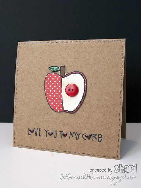 handmade Valentine/love card: AppleCore3  ... square format ... kraft base ... die cut aple ...faux stitched border ... luv how all the O's are hearts covered with Crystal Glaze for shine and dimension ... luv the clean and simple homespun look ...