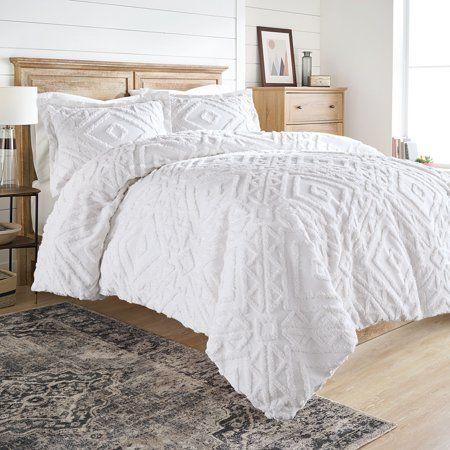 Better Homes And Gardens Chenille 3 Piece Duvet Cover Set Full Queen White Walmart Com In 2020 White Comforter Bedroom Comfortable Bedroom Duvet Cover Sets