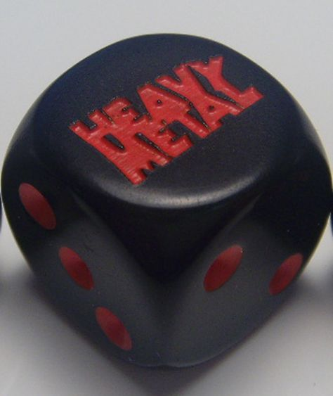 "CatMonkeyGames@ao... $4.00 Pair Heavy Metal Dice. Logo is engraved on side ""6""."
