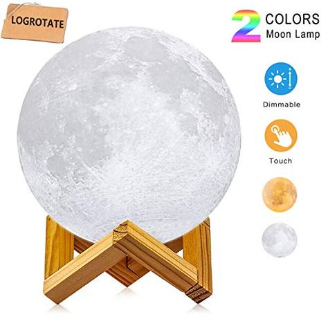 Moon Lamp Logrotate Diameter 4 7 Inch 3d Printing Led Night Light Lunar Moon Light With Stand And Warm Moon Light Lamp Led Night Light Night Light