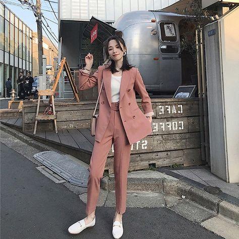 32.38US $ 20% OFF|Women Suits Casual 2 Pieces Sets Business Suits Ladies Elegant Solid Korean Style Blazer +Pants and Blazer +Shorts Suits  DS5043|Pant Suits|   - AliExpress