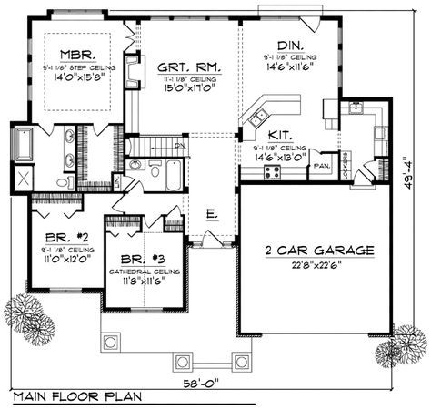 1884 Sq Ft Bungalow House Plan Chp 28147 At Coolhouseplans Com Ranch House Plans House Plans Small House Plans