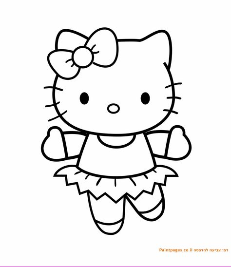 דף צביעה הלו קיטי רקדנית Hello Kitty Coloring Super Easy Drawings Unicorn Pictures