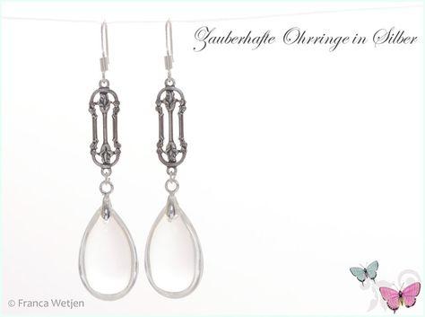 Ohrhänger - XXL Art Deco Ohrhänger Silber Tropfen lang groß - ein Designerstück von Zauberhafte-Ohrringe-in-Silber bei DaWanda
