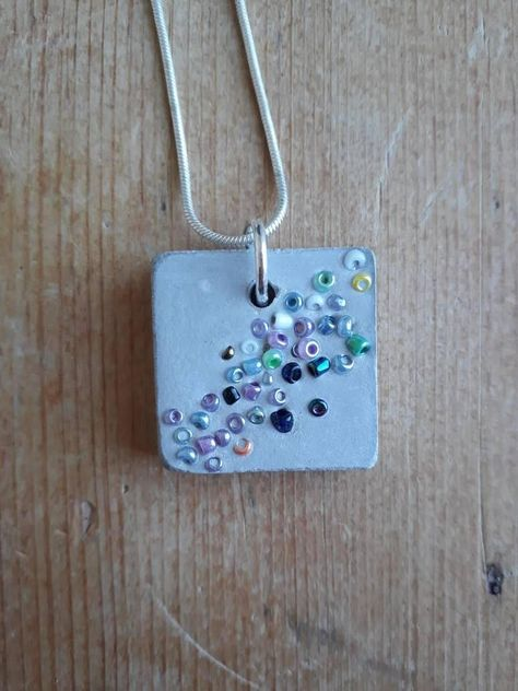 Items similar to Colourful seed beads and concrete necklace-concrete jewellery-concrete necklace-birthday gift on Etsy