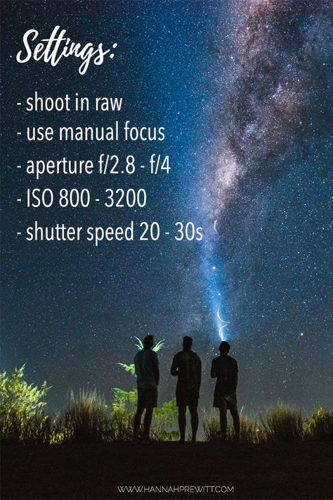Star photography settings for beginners wanting to learn night photography. Camera settings and tips for star photography. Milky Way Photography, Dslr Photography Tips, Star Photography, Photography Lessons, Photography For Beginners, Photoshop Photography, Night Photography, Photography Tutorials, Digital Photography
