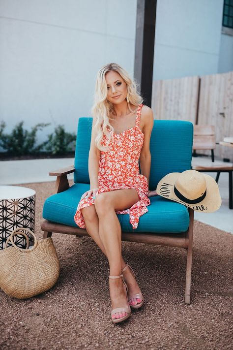 Under $60 Red and White Floral Summer Dress