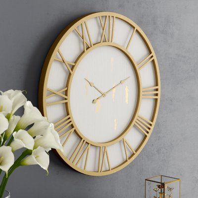 Darby Home Co Oversized Millbury Cottage Round Framed 36 Wall Clock Gold Wall Clock Big Wall Clocks Large Gold Wall Clock Large gold wall clock