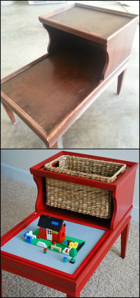Easy DIY lego table with storage! -- Easy DIY furniture makeovers and ideas! A lot of repurposed thr Diy Furniture Hacks, Furniture Projects, Kids Furniture, Furniture Making, Furniture Makeover, Diy Projects, Chair Makeover, Painting Furniture, Diy Painting