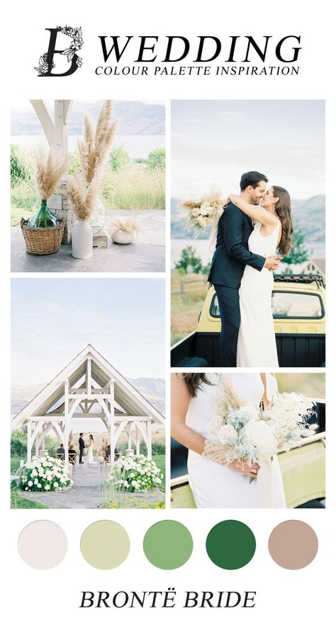 If you love crisp crepe gowns and dried pampas, you're going to love this modern Okanagan wedding ceremony at Sanctuary Gardens! #weddingcolours #colorscheme #weddingcolourpalette #weddingcolourideas #weddingcolourinspiration #summerwedding #pampaswedding