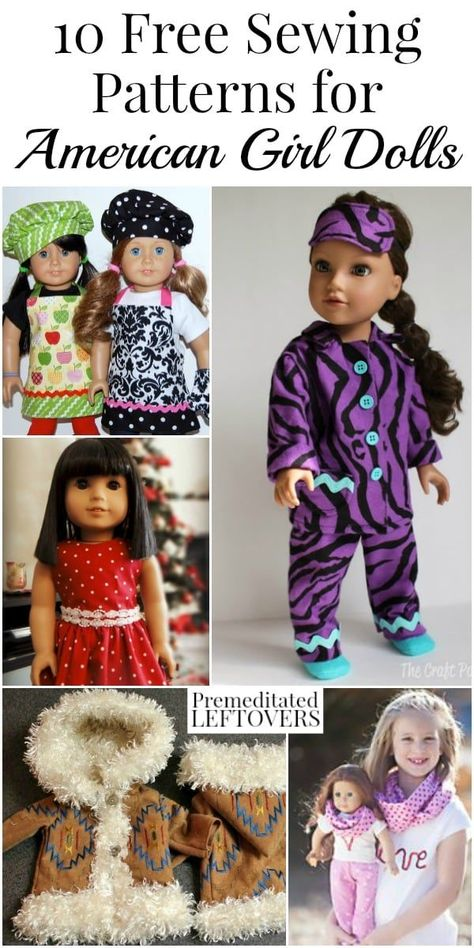 If you are looking to expand your daughter's doll's wardrobe, take a look at these 10 free American Girl sewing patterns. If you are looking to expand your daughter's doll's wardrobe, take a look at these 10 free American Girl sewing patterns. American Girl Outfits, Ropa American Girl, American Doll Clothes, American Girl Doll Pajamas, American Girl Crochet, Sewing Doll Clothes, Girl Doll Clothes, Girl Dolls, Ag Dolls