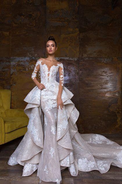 2018 Mermaid Scoop Long Sleeves Wedding Dresses Tulle Lace With