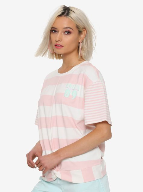 8750c03989 Her Universe Disney The Little Mermaid 30th Anniversary Girls Striped Twist  Front Top
