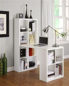 White Desk Double Bookshelf Combination With Maximum Storage