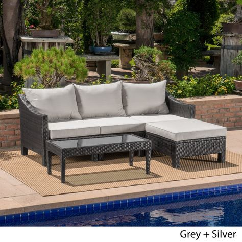 Antibes Outdoor 5 Piece Wicker L Shaped Sectional Sofa Set With Cushions By Christopher Knight Home Grey Wicker Silver Cushion Gray Fabric Sofa Set Furniture Sofa