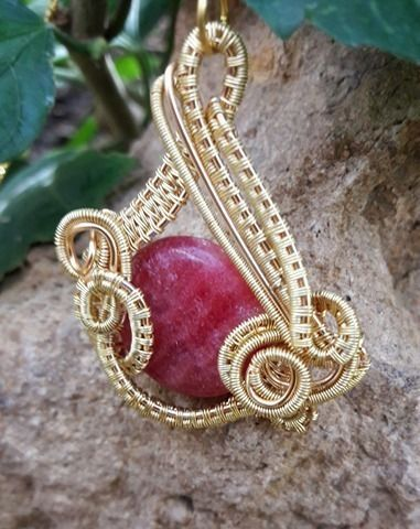 Wire Wrapped Rhodochrosite Gemstone Pendant Necklace Wire