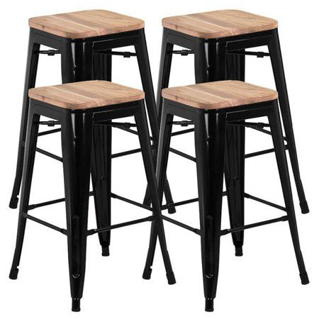 Smilemart 26 Counter Height Metal Stool Bar Stools W Wood Tops Set Of 4 Black Walmart Com Metal Bar Stools Kitchen Metal Counter Stools Metal Bar Stools