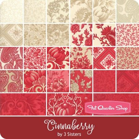 42-10 inch Precut Fabric Quilt Squares by 3 Sisters Cinnaberry Layer Cake