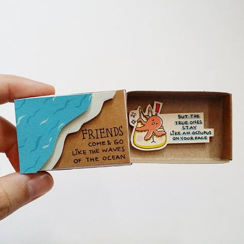 Friendship Matchbox card - Friends come and go like the waves of the ocean - But the true ones stay like an octupus on your face This listing is for one matchbox. This is a great alternative to a traditional greeting card. Surprise your loved ones with a cute private message hidden in