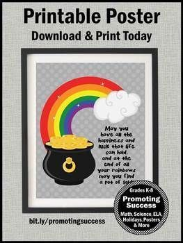 St Patricks Day Poster Rainbow Classroom Decor Pot Of Gold Fortune Quote St Patricks Day Quotes Happy St Patricks Day St Patricks Day