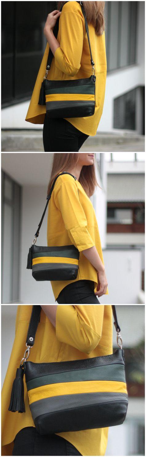 stripes #leatherbag #yellowbag...