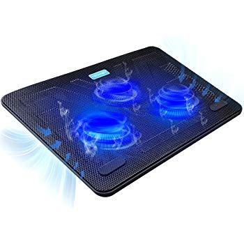 17inch Laptop Cooling Pad USB Powered Silent Gaming Cooler Stand 3Fans Black