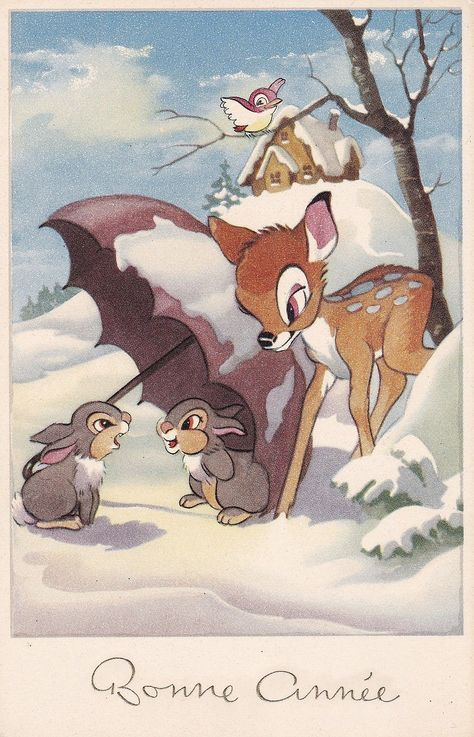 Pretty Vintage Greetings PC - Bambi - Thumper - Woodland Scenes