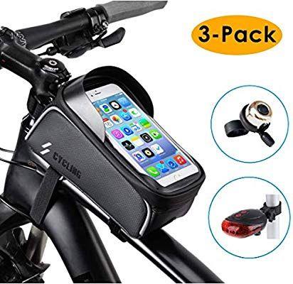 3 Pack Bike Frame Bag Tail Light Bicycle Bell Set Waterproof