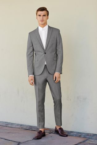 Light Grey Skinny Suit from Next | Next | Your Wedding Planner ...