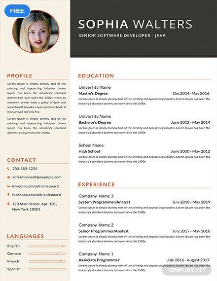 Free Senior Java Developer Resume Cv Template Word Doc Psd Apple Mac Pages Publisher Downloadable Resume Template Resume Design Template Resume