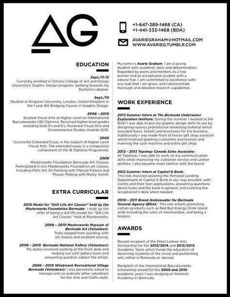 Resume + Hand-outgood idea! {Curriculum Vitae \/ Resume by - visual artist resume 1