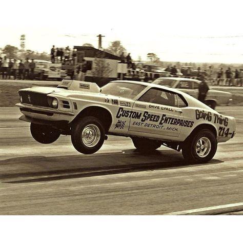 70 Mustang at the drag strip