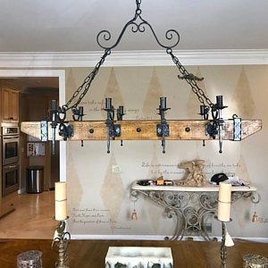 Wood Beam And Wrought Iron Chandelier For 6 Lights Interioare