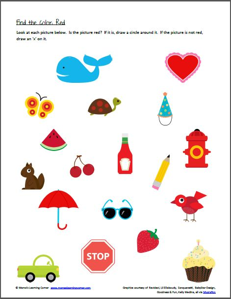 Color Recognition Find The Color Red Color Worksheets For Preschool Preschool Colors Color Worksheets Activity preschool color recognition