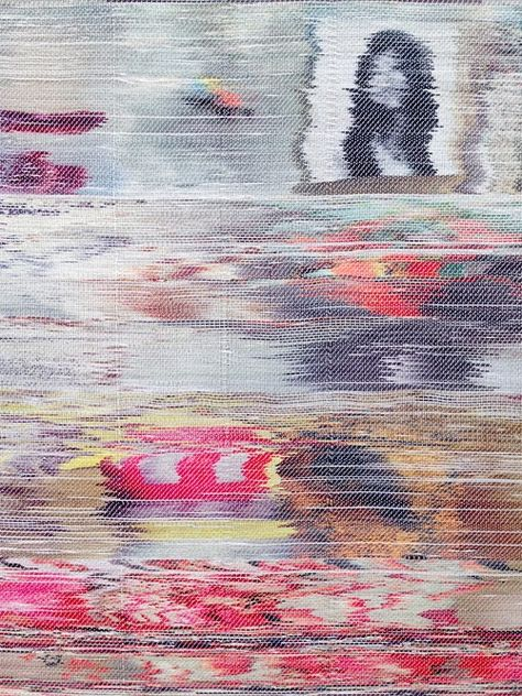Stunning hand-woven pieces by Margo Wolowiec of TV screen glitches.