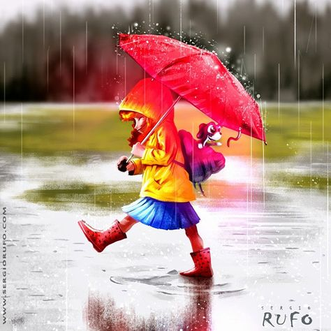 art by sergiorufo #cintiq #wacom #illustration #drawing #artwork #dibujos #fineart #sketch #photoshop #ilustración #digitalart #instacool #dibujodeldia #illustagram #dibujar #drawingoftheday #ilustraciones #sketch_of_the_day #draw #childrens #bookchildren #librosinfantiles #child #girl #dog #rain #winter #childrensillustration #ilustracioninfantil #sergiorufo