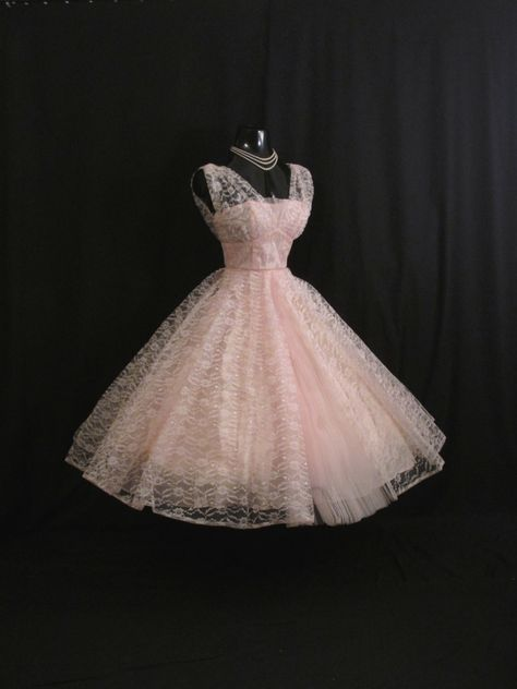 Vintage 1950's 50s Bombshell Baby PINK Lace Tulle Circle Skirt PROM Party Wedding Dress Gown by VintageVortex on Etsy https://www.etsy.com/listing/183906250/vintage-1950s-50s-bombshell-baby-pink